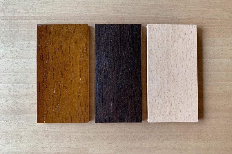 木部3種類:左からウォールナット色/モカブラウン色/ピュアビーチ色